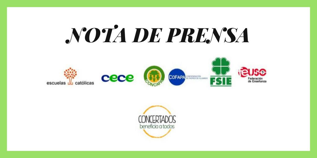 """Nota de prensa de la plataforma """"Concertados"""""""